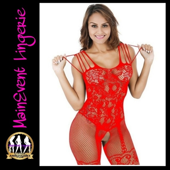 1b76fa2cdeb Sexy Crotchless Fishnet Body Stockings (Red)